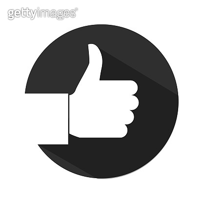 Like Icon, Thumbs up in trendy flat style isolated on white background. Vector illustration.