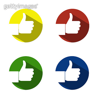 Like and Thumbs Up symbol in different colours icons