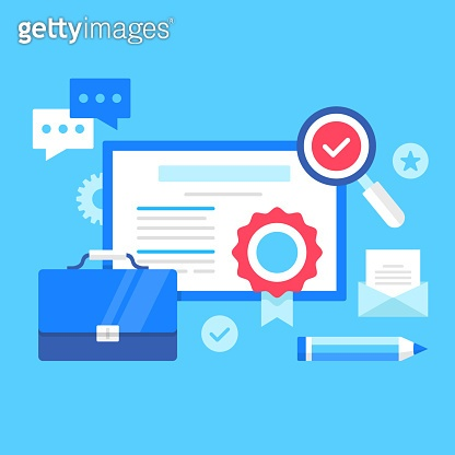 Certificate. Vector illustration. Diploma, award document, education, license, academy, training, complete online courses concepts. Modern flat design. Certificate, briefcase, magnifying glass, pencil, etc.