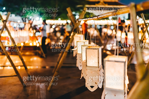 People in Loy Krathong festival of Thailand