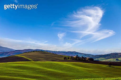 Light clouds over Tuscany hills