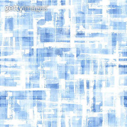Abstract grunge cross geometric shapes contemporary art blue color seamless pattern background