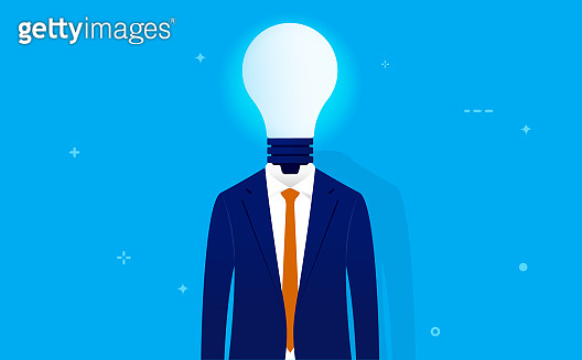 Business idea - Smart business man with glowing light bulb instead of head