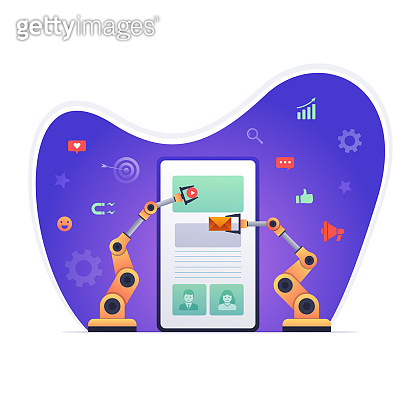 Robotic hands building marketing on smart phone. Vector Illustration