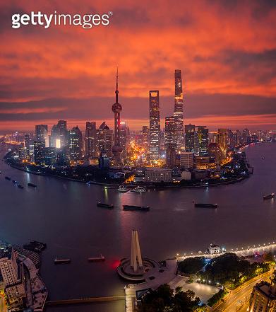Shanghai city, China city skyline on the Huangpu River