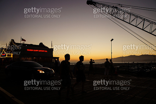Santa Monica beach at sunset, Los Angeles, California, United States