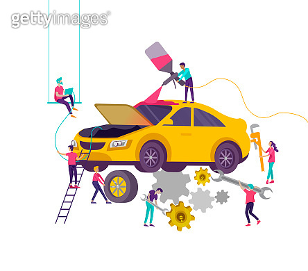 Car service having their repaired, cartoon people characters paint car, change wheels, automobile repair shop, vehicle service concept. Vector flat style