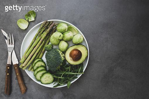 Fresh green vegetables. Detox, lose weight, dieting concept. Healthy, clean eating food. Vegetarian food.