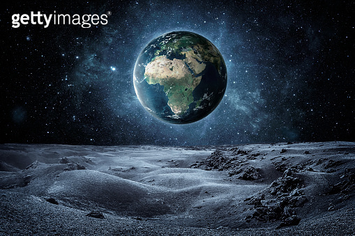 Planet earth seen fron the moon surface with copy space