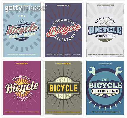 Bicycle vintage set with 6 posters in retro style. Isolated. Vector illustration