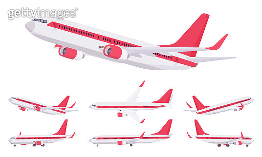 Passenger plane red stripe livery set, airline aircraft for passengers