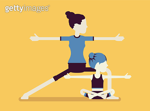Yogi family, mother and daughter in sport wear practicing yoga
