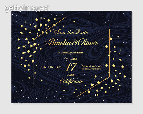 Gold Wedding Invitation, save the date, thank you, rsvp card Design template. Fairytale magic card. Vector illustration