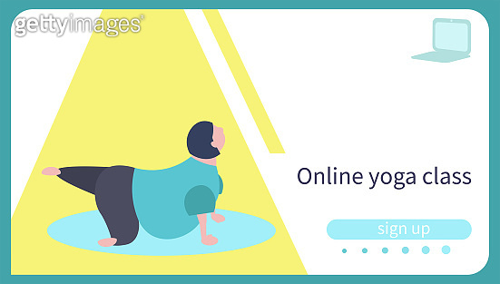 Card for online yoga lesson. Body positive caucasian woman practicing yoga