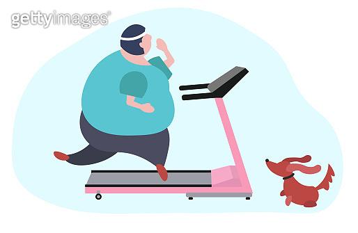 Fat woman on sport stationary treadmill. Girl running at home.