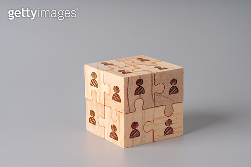 Business & HR icon on wood jigsaw puzzle cube