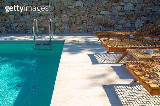 Amazing small pool of villa on Greek island Mykonos.