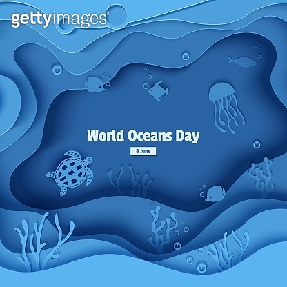 Paper cut butterflyfish, jellyfish, moonfish, turtle. Paper craft underwater ocean cave with fishes, coral reef, seabed in algae, waves. Diving concept, deep blue marine life. Vector sea wildlife