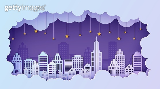 Night City landscape in papercut style. Violet and blue gradient cloud paper cut office, residential buildings and evening cloudy sky with stars on rope. Vector card architecture horizontal panorama