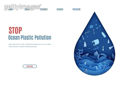 Web page stop ocean plastic pollution banner design template in paper cut style. Underwater view through the water drop silhouette. World Water Day website concept Seabed reef and fish in waves vector