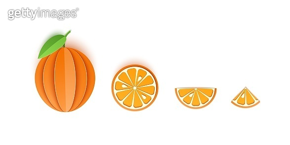 Set of orange sliced paper citrus fruit sliced whole, triangular and round slices, design for any purpose. Summer citrus, juicy food. Vector 3d map illustration. Tropical paper layers of fruit.