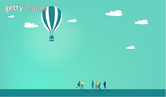 People flying with hot air ballon. Start up, change, risk