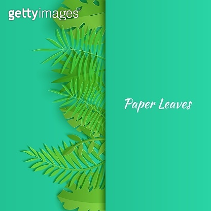 Vertical border of summer tropical leaves in paper cut style. Craft jungle plants collection on green background. Creative vector card illustration in paper cutting art style