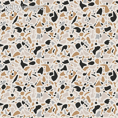 Terrazzo background texture. Vector seamless pattern. Natural stone, glass, quartz, concrete, marble. Classic italian type of floor. Terrazzo design.