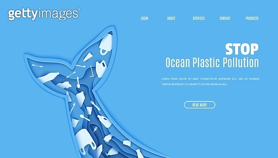 Web page design template stop ocean plastic pollution in paper cut style. Tail fin in the form papercut layer cave with plastic bag for rubbish, bottle, disposable tableware. Vector ecological concept