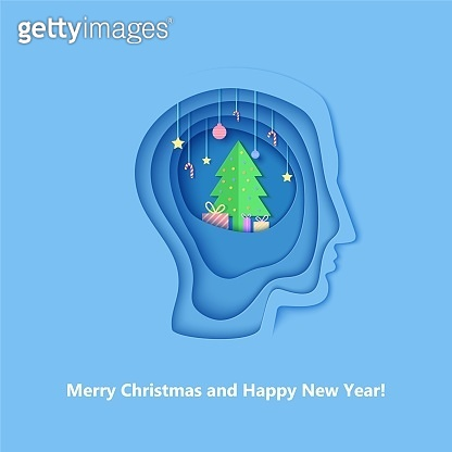 Man brainstorm head in paper cut style. Silhouette of layered human with think of Christmas gift. Origami creative vector concept profile with New Year decorations on the depth of layers cardboard