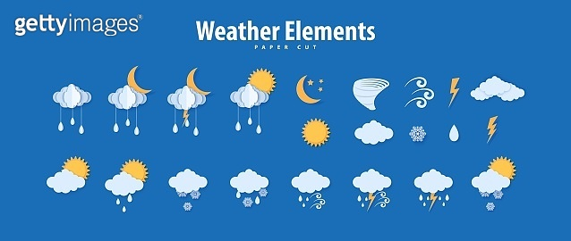 Weather icons in paper cut style. Vector paper carve climate elements clouds raindrops sun moon tornado thunder for meteorology poster design. Origami art creative symbols of storm