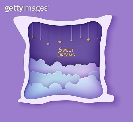 Night sky clouds frame like pillow with gold stars on rope in paper cut style. Cut out 3d backdrop with violet blue gradient cloudy landscape papercut art, vector card for wish sweet dreams good night