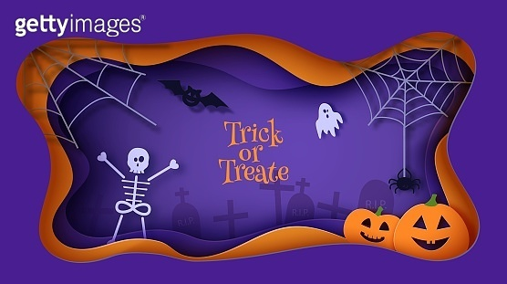 Halloween vector card illustration in paper cut style