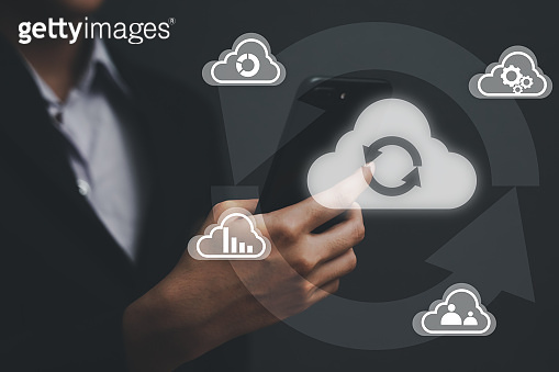 Cloud technology Business, Digital storage, Businessgirl with cloud computing concept.