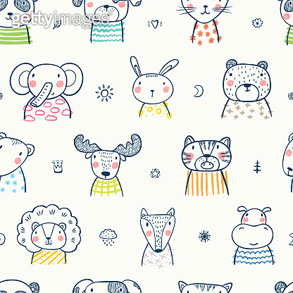 Cute Scandinavian Style Animal Faces Seamless pattern. Hand drawn Doodle Cartoon Animals. Vector Background for Kids