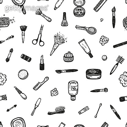 Makeup and Manicure Seamless Pattern. Cosmetics Collection Background. Hand Drawn Doodle Cosmetic Face and skin Care Products. Beauty and Fashion Items Vector illustration