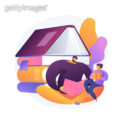 Dads contribution to childrens education abstract concept vector illustration.