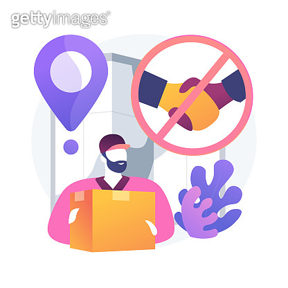 No-contact pick up and delivery abstract concept vector illustration.