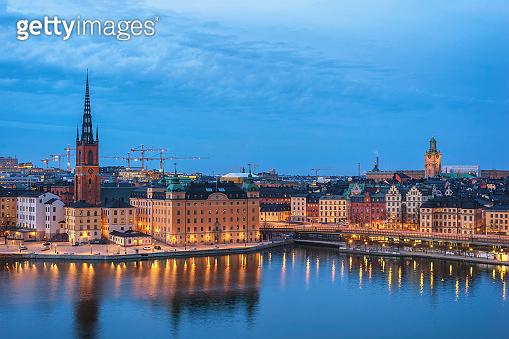 Stockholm Sweden, night city skyline at Gamla Stan old town