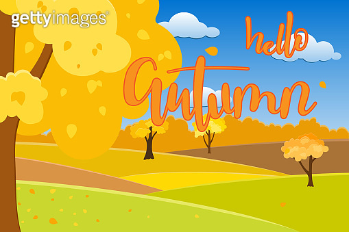 Autumn landscape with sunny day over hills