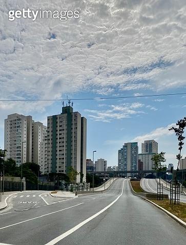 Empty avenue in Sao Paulo