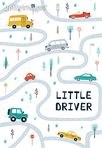 Children's posters with cars, road map and lettering Little driver in cartoon style. Cute illustrations for children's room design, postcards, prints for clothes. Vector