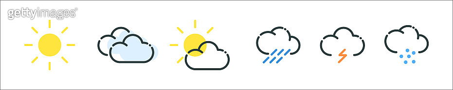 Weather forecast. Stroke icons on a white background. Design for web sites and mobile applications.