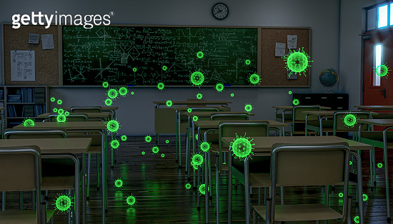 empty school class, covid 19 virus highlighted green.