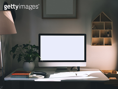 Minimal workspace with computer at home. Work, learn or study place background.