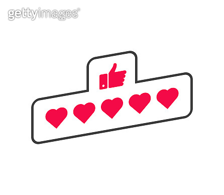 Five star heart rating, great design for any purposes. Vector clipart. Customer review rating. Heart concept. Flat style. Vector illustration.