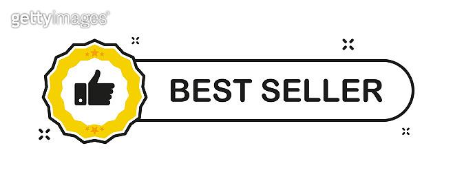 Recommended. Recommendation best seller sign. Sale badge. Thumb up emblem. Flat ribbon banner with recommended banner for promotion design. Vector illustration.