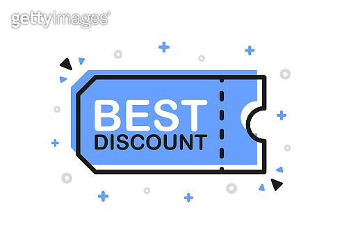 Best discount, promo code banner in flat design on white background. Vector.