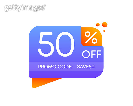 Promo code save. 50 percent off discount nameplate on a white background in flat design. Business, shop, producte sale. Vector.