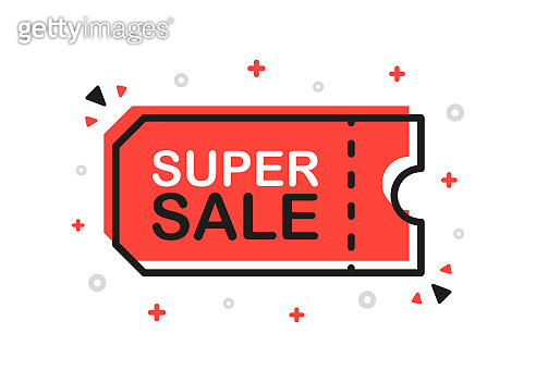 Super sale, promo code, coupon code banner in flat design on white background. Vector.